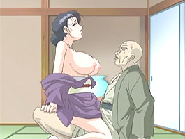Hentai babe with juicy boobs gets fucked by old man